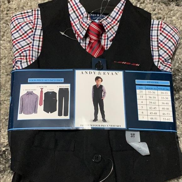 andy /& evan boys four pieces set vest  suit Size 6 NWT